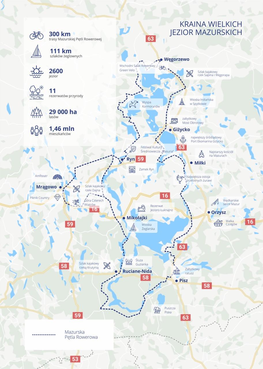 Mapa Mazurska Pętla Rowerowa